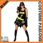 New Women's Bat Girl Super Hero Comic Bat Family Fanct Dress Costume All Sizes