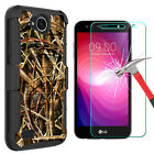 For LG X Charge/Fiesta LTE Phone Case Kickstand+Tempered Glass Screen Protector