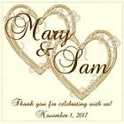Double Heart Personalized Bridal Shower and Wedding Stickers