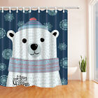 Cartoon White Bear With Lettering Merry Xmas Fabric Shower Curtain Bath 71Inches