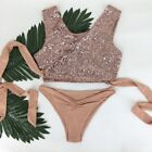 ROSE GOLD SEQUIN SWIMSUIT BEACH POOL PARTY BIKINI BATHING SUIT TOWIE IBIZA MARBS
