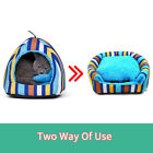 Puppy Pet Dog Cat Bed Kennel 2 Way Use Stripe Warm Blanket Removable Cushion Mat