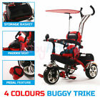 KIDS 2 IN 1 RIDE 3 WHEEL BABY TRIKE TRICYCLE STROLLER BUGGY PEDAL BAR PUSH BIKE