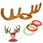 Inflatable Reindeer Christmas Hat Antler Ring Toss Holiday Party Game Toys US
