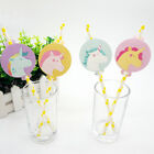12pcs Unicorn Theme Straws Party Supplies Decoration Biodegradable Paper Straw