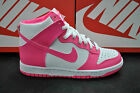 NIKE DUNK HIGH HI TOP WOMENS SPORTS TRAINERS GIRLS WHITE PINK LEATHER 308319 127