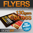 PRINTED LEAFLETS / Flyers Full Colour 130gsm Gloss Print A3 / A4 / A5 / A6 / DL