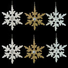 Christmas Tree Decoration - 2 Pack 14cm Glittery Snowflakes with Gem