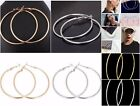 """Classic Style Hoop Earrings Gold/Silver Color Lightweight Retro 2"""", 3"""" and 4"""""""