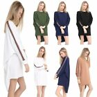 New Womens Stripe On Sleeve Plain Baggy Batwing Top Ladies Oversized Blouse 8-26