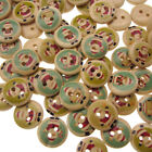 100/300 WOODEN BUTTONS Christmas Mix Santa Claus Making Sewing Scrapbook 15mm