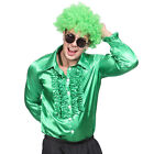 Mens 70s Disco Night Frilly Ruffle Shirt Fancy Dress Party Costume M L XL