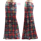 Women's LONG SKIRT Christmas Holiday Plaids Ornament Maxi S/M/L/XL/1X/2X/3X