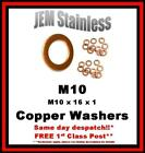 M10 Copper Washers M10 x 16 x 1 Pack size 6, 10 or 20