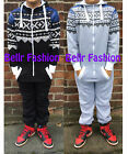 NEW MENS BOYS AZTEC PRINT ALL IN ONE HOODED ZIP BLACK GREY SIZE UK M L XL
