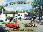 YORKSHIRE DALES WELCOME HOME MG CAR VILLAGE PUB SHEEP TIN PLAQUE METAL SIGN 1037