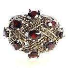 SIZE 7,8,9: GARNET STONES RING Chunky Wide Band Marcasite .925 STERLING SILVER
