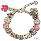 NEW Girl's / Child's Silver Plated Personalised Name Pink Flower Charm Bracelet