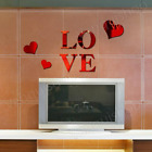 3D Multi-color Love Silver DIY Shape Mirror Wall Stickers Home Wall Bedroom Offi