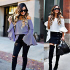 US Womens Off the Shoulder Tops Long Sleeve T shirt Casual Loose Blouse NEW