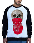Men's Red Bandana Skull Face White Raglan Sweatshirt Halloween Day Of Dead B657