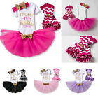 Baby - First 1st Birthday Outfits Baby Girl Gold Bow Tutu Dress Infant Clothing Sets