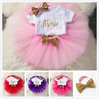 Baby Girls 1st First Birthday Dress Romper Tutu Outfits Kids Party Suit Gold One