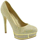 $140 Gold Sexy Stiletto CRYSTAL Strass Pumps Women Shoes High Heels