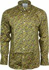 Relco Mens Platinum Mustard Paisley Long Sleeved Button Down Shirt Mod Skin 60s