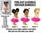 PRE-CUT Hot Pink and Gold Tulle Party Dress Baby EDIBLE Cake Topper Image Afro