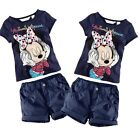 Kids Baby Boys Girls Minnie Mouse Summer T-Shirt Tops+Shorts Pants Set Outfit