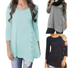 Womens Long Sleeve Loose Button Decor Trim Blouse Round Neck Tunic T-shirt Tops