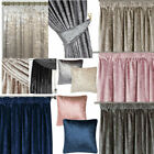 Crushed Velvet Lined Pencil Pleat Curtains - Mink, Silver or Black Modern Look