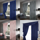Crushed Velvet Lined Pencil Pleat Curtains- Mink, Silver or Black Modern Look