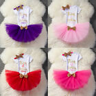 1st 2nd Birthday Outfit Girl Pink Gold Tutu Baby Girl Sets Party Dress Sets 3pcs