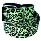 Green Leopard 38mm Belt - Emo Punk Rock Rockabilly