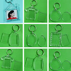 2-10x Transparent Shaped Blank Plastic Insert Photo Frame Key Ring Keychain Gift