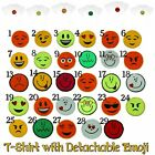 KIDS BOYS T-Shirt CHOOSE TWO DETACHABLE EMOJI Removable Smiley Faces Emoticons