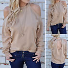 US Stock Women Ripped Sweater Tops Long Sleeve Off Shoulder Loose Pullover Tops