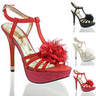 NEW WOMENS LADIES HIGH HEEL GLADIATOR EVENING  PARTY SANDALS SHOES SIZE 4 5 6 7