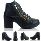 NEW WOMENS LADIES DESIGNER BLOCK HEEL SIDE ZIP LACE UP FRONT BOOTS SIZE 4 5 6 7