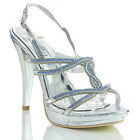 NEW WOMENS LADIES SILVER HIGH HEEL PLATFORM DESIGNER EVENING SANDALS SHOES SIZE