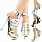 NEW WOMENS LADIES HIGH HEEL DOUBLE PLATFORM EVENING SANDALS SHOES SIZE 4 5 6 7