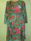 New Fair Trade Gringo Cotton Long sleeve Swing Hippy Boho Print dress  Blue Red