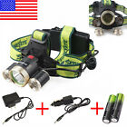 36000lm 4-mode Headlamp XM-L 3xT6 LED Headlamp 18650 Light Charger Battery US1