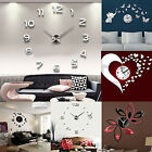 IK- 3D DIY Wall Clock Fashion Mirror Sticker Living Room Home Modern Decor Utili