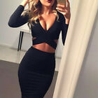 Women's Bandage Bodycon Long Sleeve Evening Party Cocktail Club Mini Dress