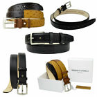 Mens Full Real Leather Belt Patchwork Pattern Belts Buckle Trouser Size 32-44