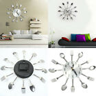 IK- Stainless Steel Knife Fork Spoons Wall Clock Analog Home Office Decor Clever