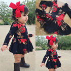 Newborn Infant Baby Girl Floral Long Sleeve Party Pageant Pr